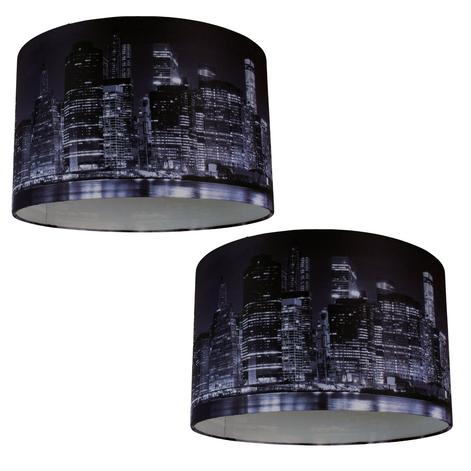 Set Of 2 Manhattan Sky Digital Print Fabric Easy Fit Pendant Ceiling Light Shade Ebay