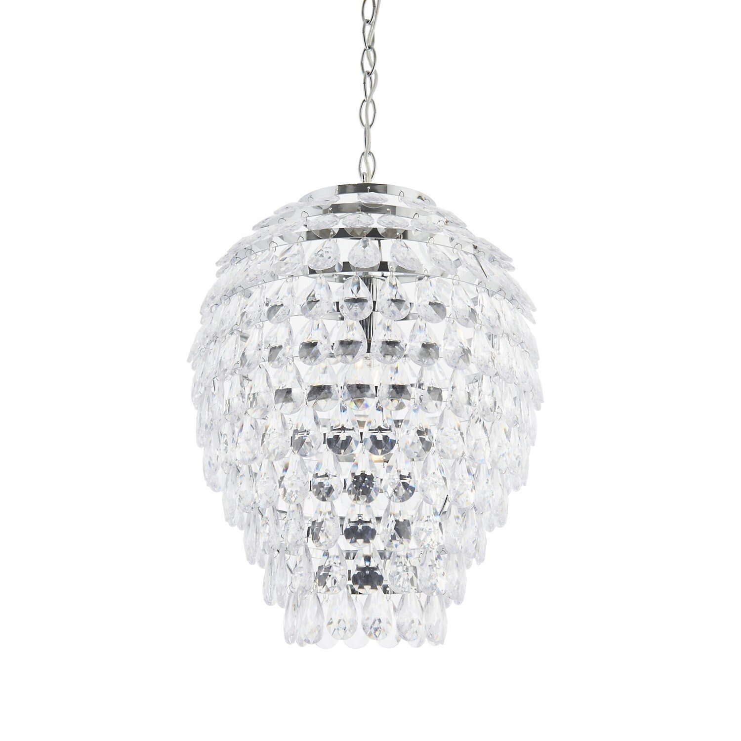 Modern Chrome & Clear Jewelled Pineapple Style Ceiling ...