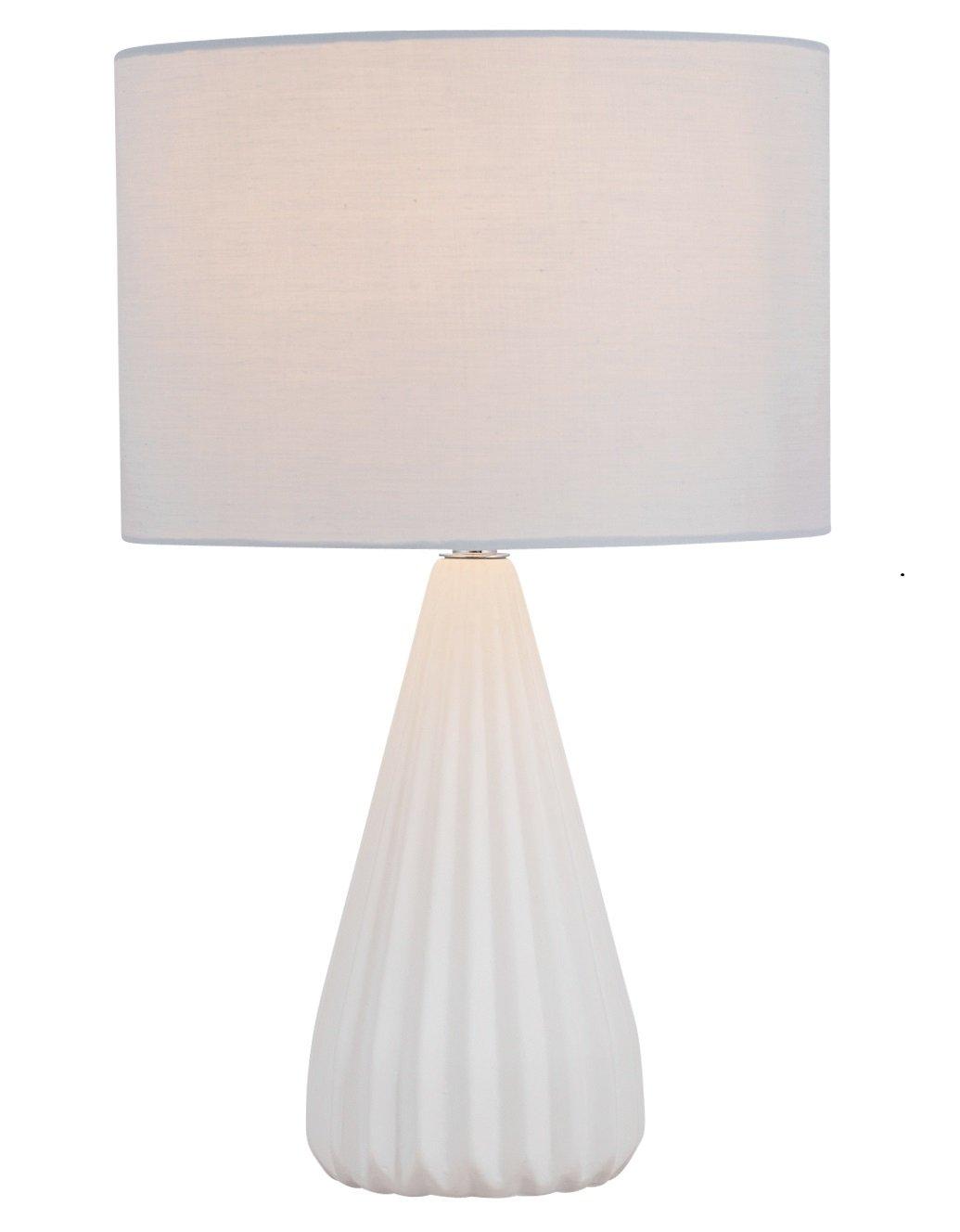 Light Grey Bedside Table: Modern Designer 40cm Ribbed White Ceramic Table Lamp