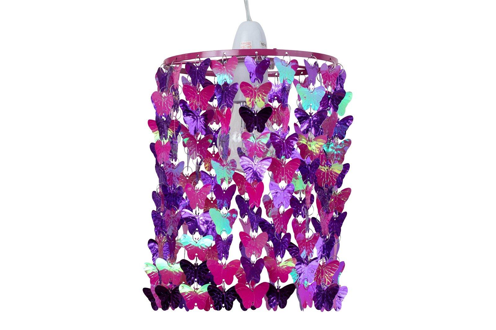 Modern Girls Kids Pink & Purple Butterflies Ceiling Light ...