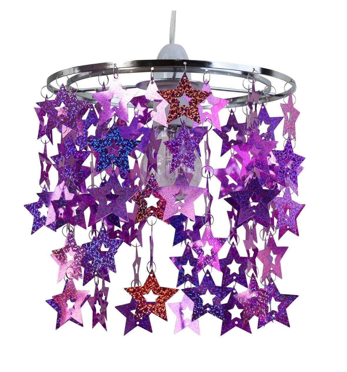 Girls Bedroom Nursery Pink Purple Sparkly Star Ceiling ...