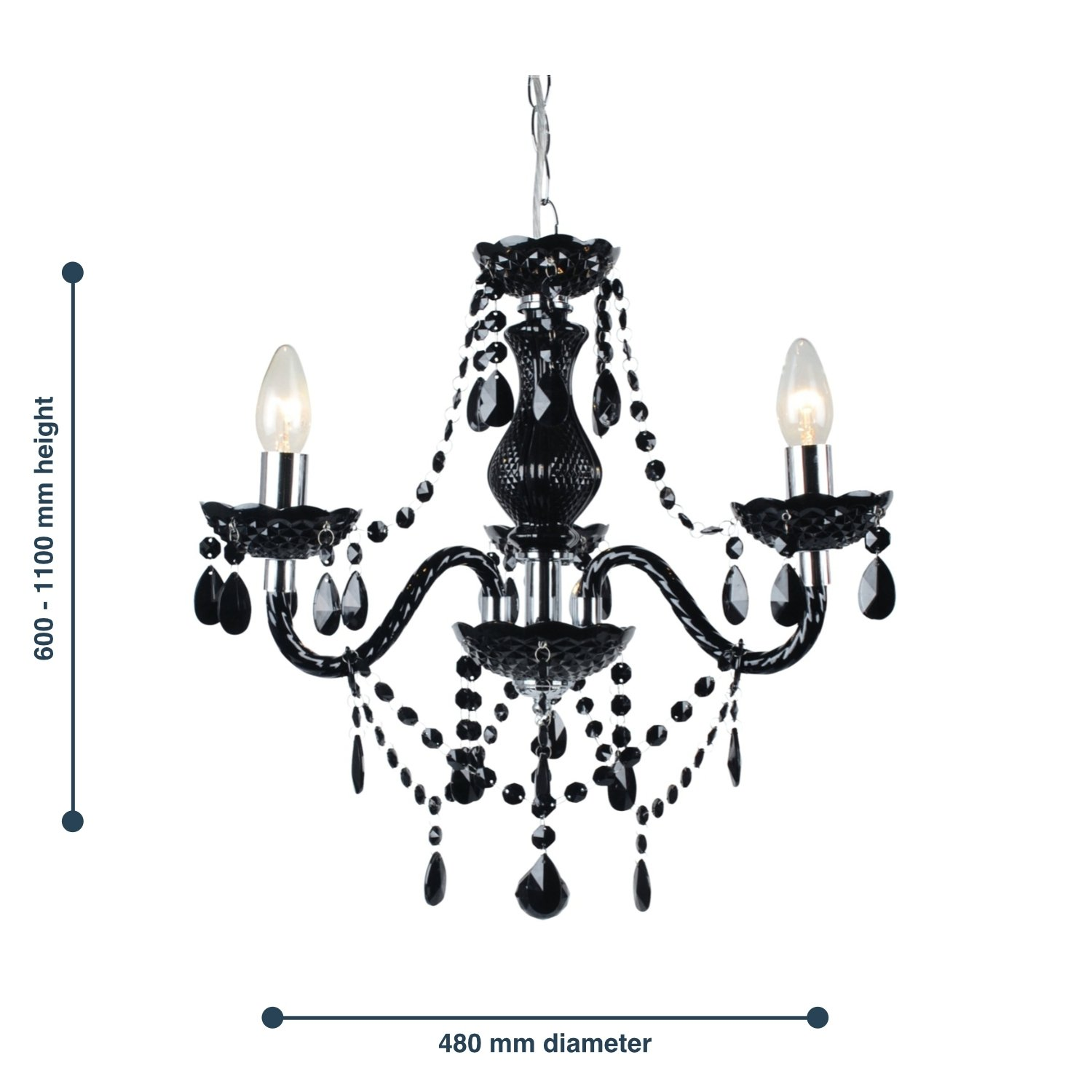 thumbnail 12 - Marie Therese 2, 3 & 5 Ceiling Light Acrylic Chandelier & Wall Clear Black