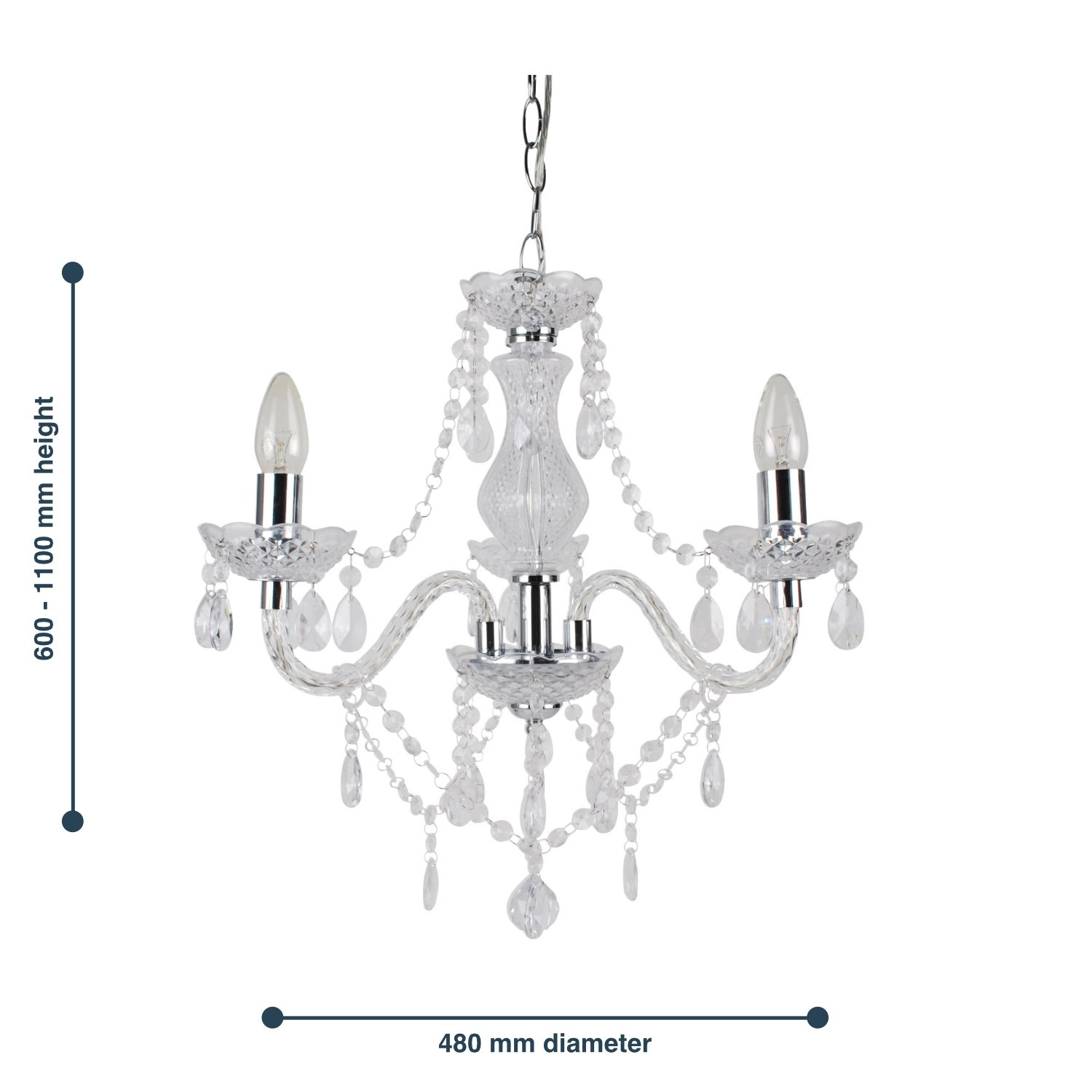thumbnail 16 - Marie Therese 2, 3 & 5 Ceiling Light Acrylic Chandelier & Wall Clear Black