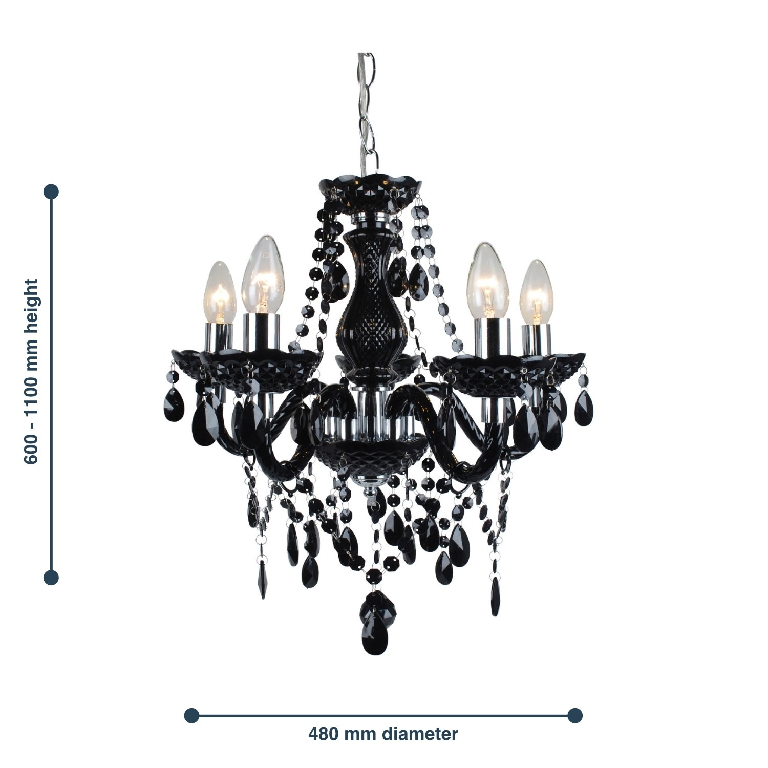 thumbnail 18 - Marie Therese 2, 3 & 5 Ceiling Light Acrylic Chandelier & Wall Clear Black