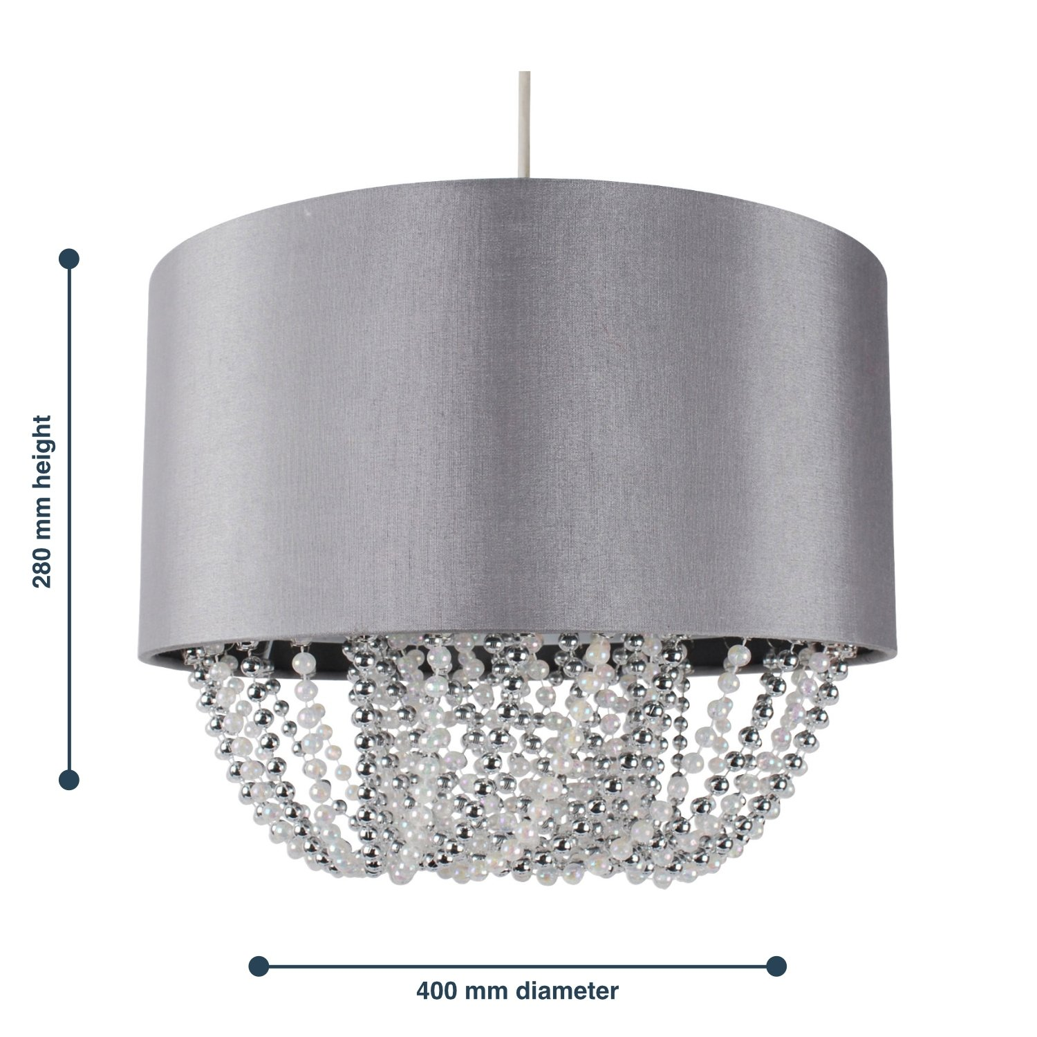 Modern Large 40cm Easy Fit Jewelled Grey Ceiling Light Chandelier Lamp Shade