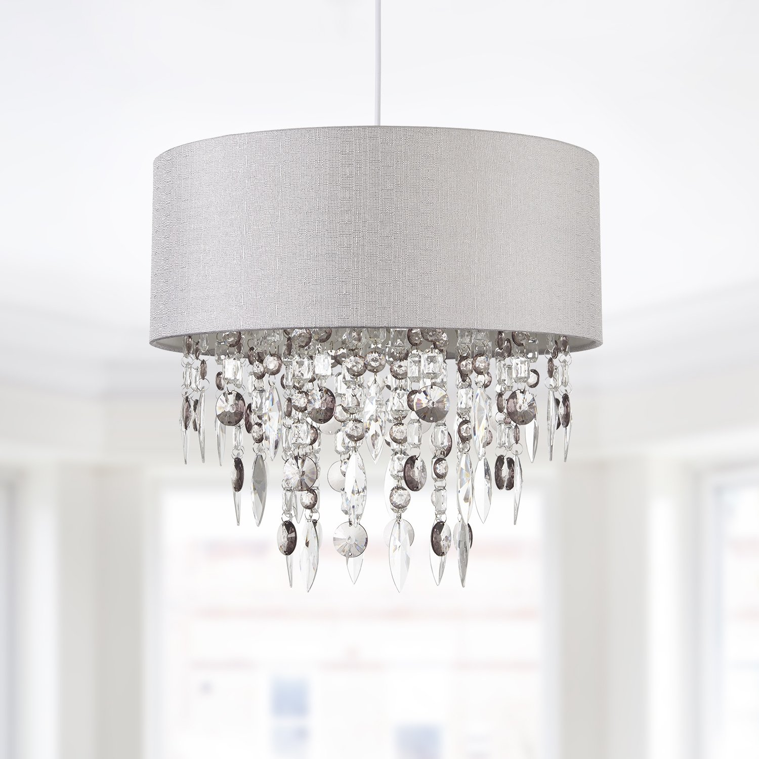 Modern Large 40cm Easy Fit Jewelled Grey Ceiling Light Chandelier Lamp Shade Ebay