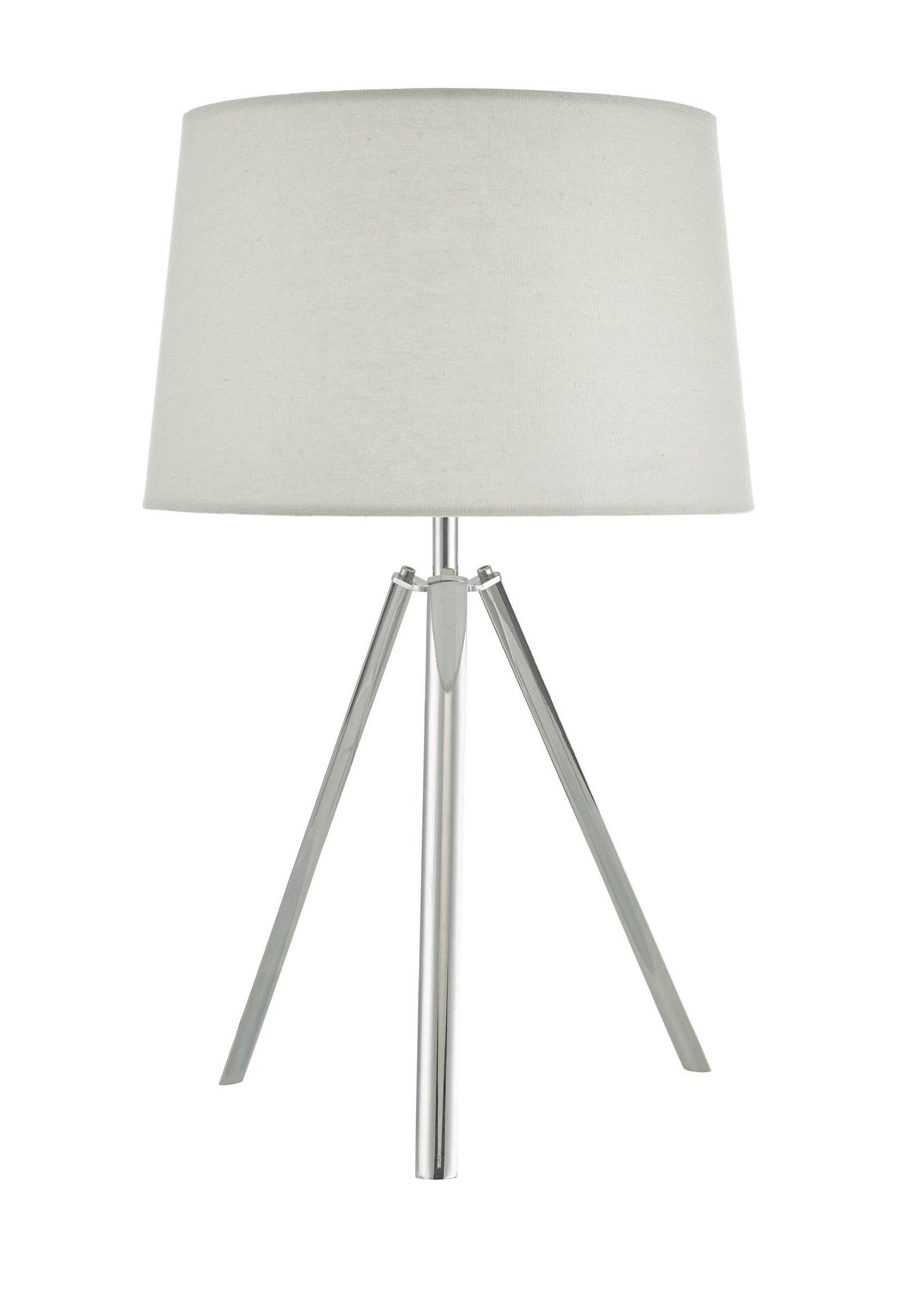 Light Grey Bedside Table: Pair Modern Chrome 50cm Tripod Table Lamps Bedside Light