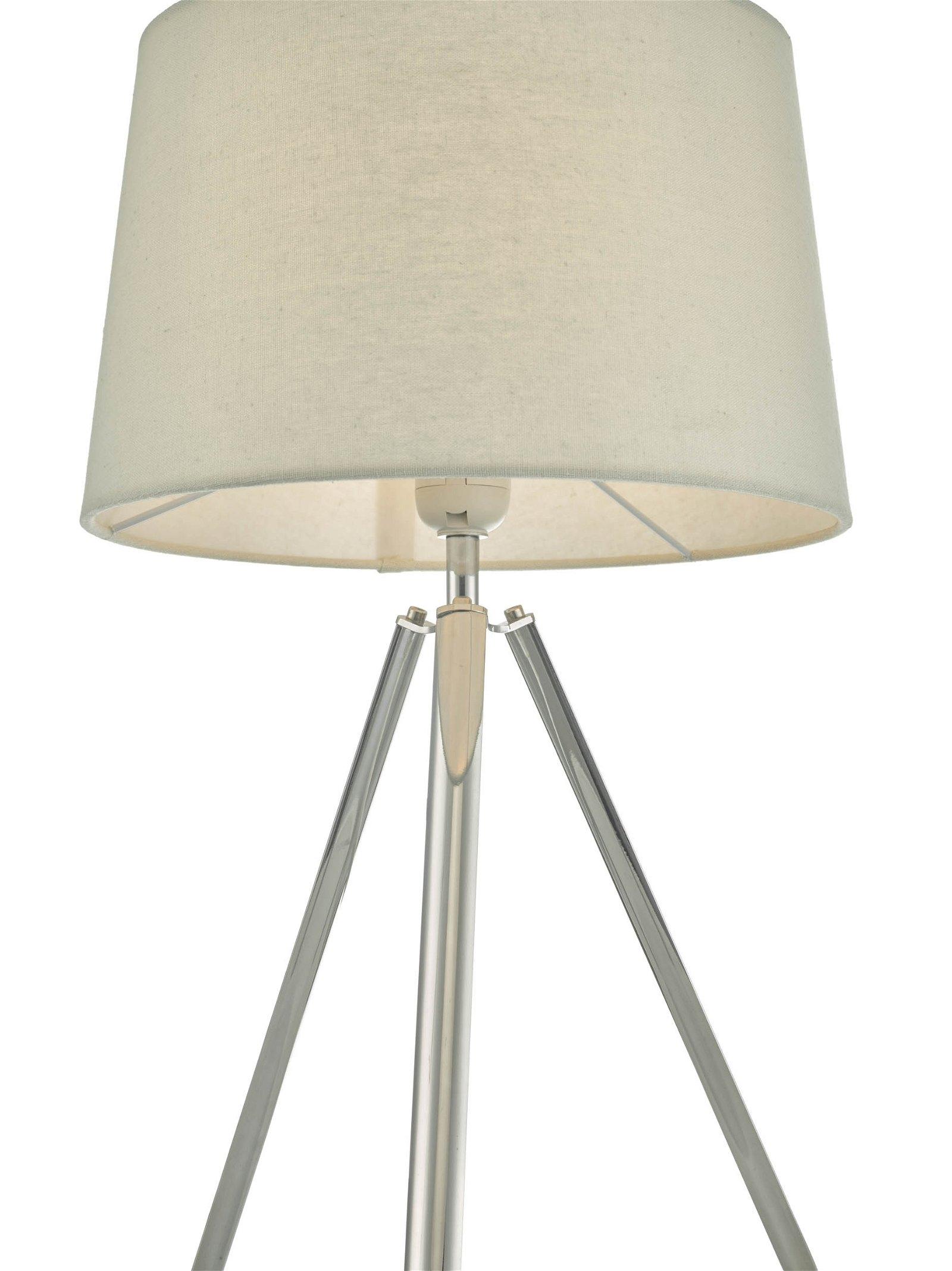 Light Grey Bedside Table: Modern Chrome 50cm Tripod Table Lamp Bedside Light Grey
