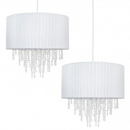 Modern 40cm White Ribbon Jewelled Easy Fit Ceiling Lightshade Lampshade Pendant