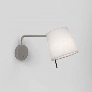 Astro Lighting - Mitsu Swing Arm 1394001 (8404) & 5018031 (4214) - Matt Nickel Wall Light with White Shade