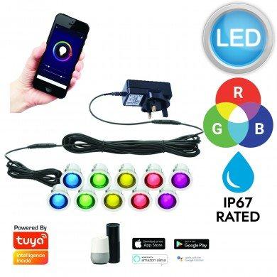 Set of 10 - 30mm Stainless Steel IP67 Tuya Smart Life WiFi RGB Colour Changing LED Plinth Decking Kit