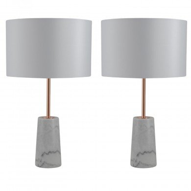 Pair of White Marble and Copper Table Lamps with White Fabric Shades