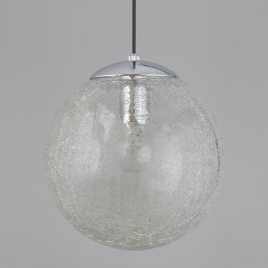 Polished Chrome Crackle Glass Pendant