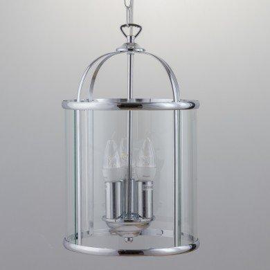 Polished Chrome 3 Light Lantern Style Pendant