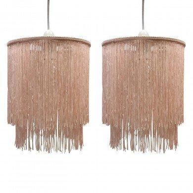 Pair of Pink 2 Tier Tassel Light Shades