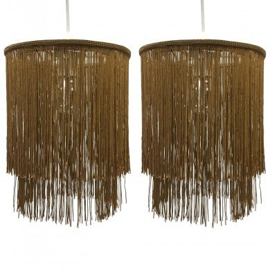 Pair of Gold 2 Tier Tassel Light Shades