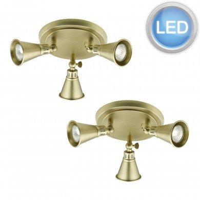 Set of 2 Modern Antique Brass 3 Light Ceiling Spotlights
