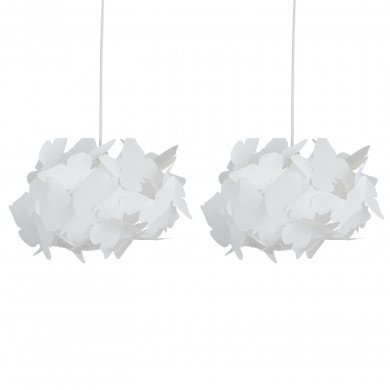 Set of 2 White Butterfly Easy Fit Light Shades