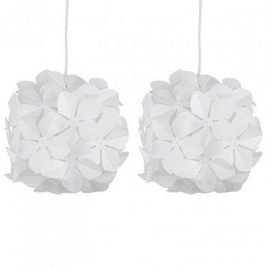 Set of 2 White Flower Easy Fit Light Shades