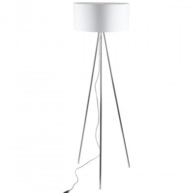 Chrome Tripod Floor Lamp with White Fabric Shade