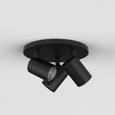 Astro Lighting - Ascoli Triple Round 1286082 - Matt Black Spotlight