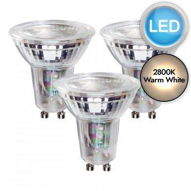 3 x 5.5W LED GU10 Dimmable Light Bulbs - Warm White