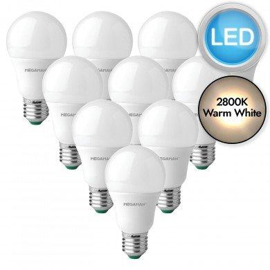 10 x 10.5W LED E27 Light Bulbs - Warm White