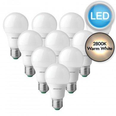 10 x 5.5W LED E27 Light Bulbs - Warm White