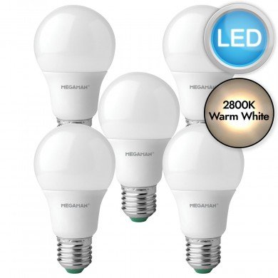 5 x 5.5W LED E27 Light Bulbs - Warm White