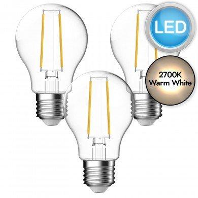 3 x 4.8W LED E27 Filament Light Bulbs - Warm White