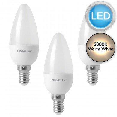 3 x 5.5W LED E14 Candle Light Bulbs - Warm White