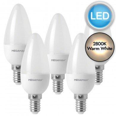 5 x 5.5W LED E14 Candle Light Bulbs - Warm White