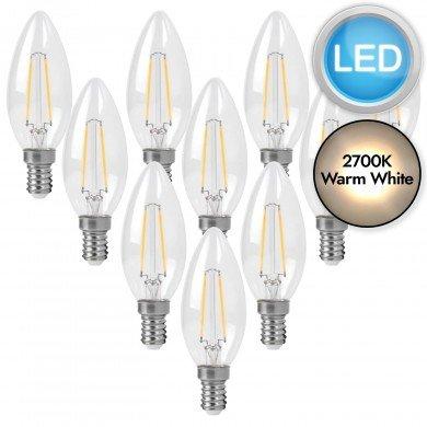 10 x 3W LED E14 Candle Filament Light Bulbs - Warm White