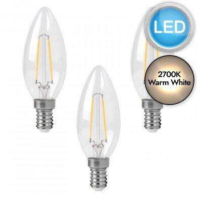 3 x 3W LED E14 Candle Filament Light Bulbs - Warm White