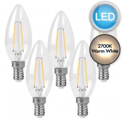 5 x 3W LED E14 Candle Filament Light Bulbs - Warm White