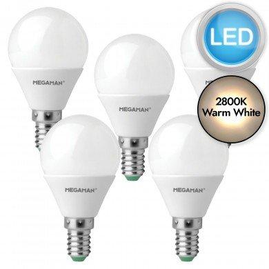 5 x 3.5W LED E14 Golf Ball Light Bulbs - Warm White