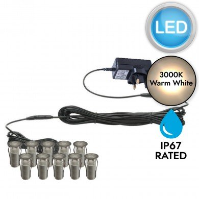 Set of 10 - 15mm Stainless Steel IP67 Warm White LED Plinth Decking Kit