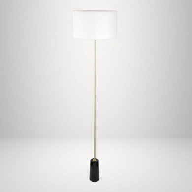 Black Marble and Satin Brass Floor Lamp with White Fabric Shade