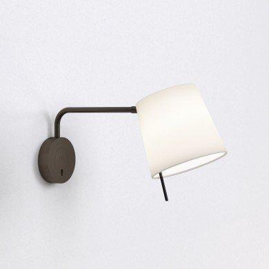 Astro Lighting - Mitsu Swing Arm 1394002 (8405) & 5018031 (4214) - Bronze Wall Light with White Shade