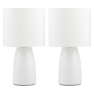 Set of 2 Clive - Ivory Ceramic 25cm Table Lamp / Bedside Lights with Matching Shades