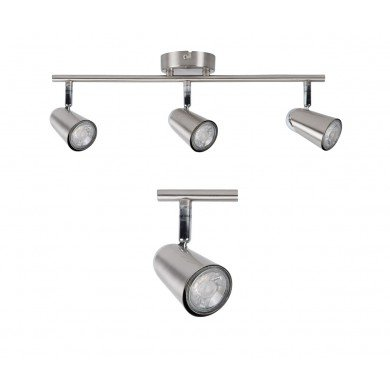 Brushed Chrome with Chrome Detail 3 Way Spotlight Bar