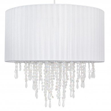 Large 40cm White Ribbon Jewelled Light Shade