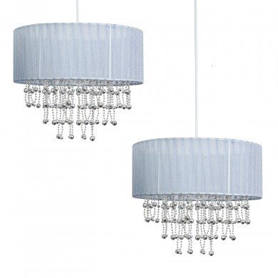 Set of 2 Chrome Beaded Grey 30cm Easy Fit Shades