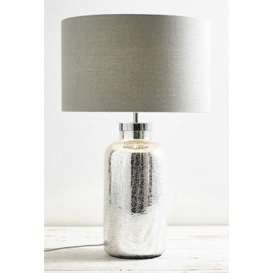 Mercury Glass Bottle Base Table Lamp with Grey Linen Shade