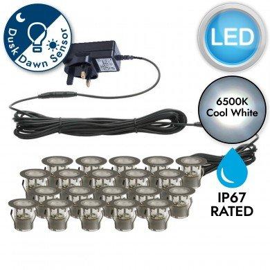 Set of 20 - 30mm Stainless Steel IP67 Cool White LED Decking Kit with Dusk til Dawn Photocell Sensor