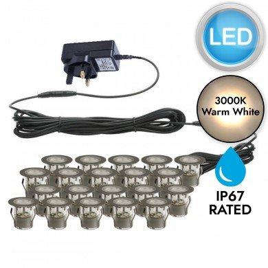 Set of 20 - 30mm Stainless Steel IP67 Warm White LED Plinth Decking Kit