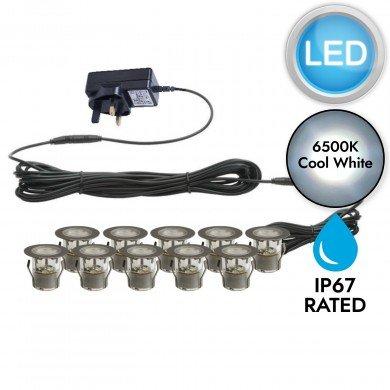 Set of 10 - 45mm Stainless Steel IP67 Cool White LED Plinth Decking Kit