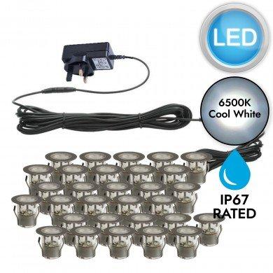 Set of 30 - 30mm Stainless Steel IP67 Cool White LED Plinth Decking Kit