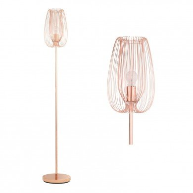 Polished Copper Metal Wire Floor Lamp