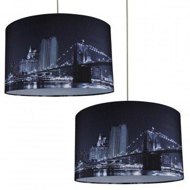 Set of 2 Digitally Printed Shade with New York City Skyline 400mm Diameter